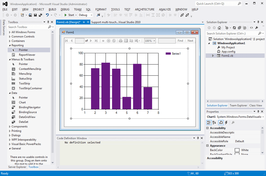Screenshot of Microsoft Visual Studio 2015 Professional