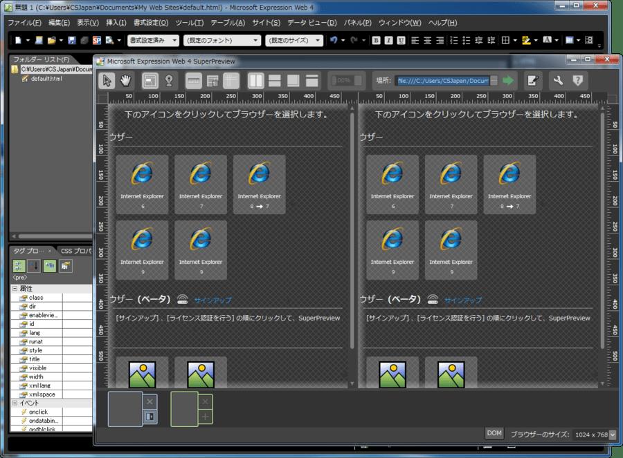 Screenshot of Microsoft Expression Studio 4 Web Professional(日本語版)