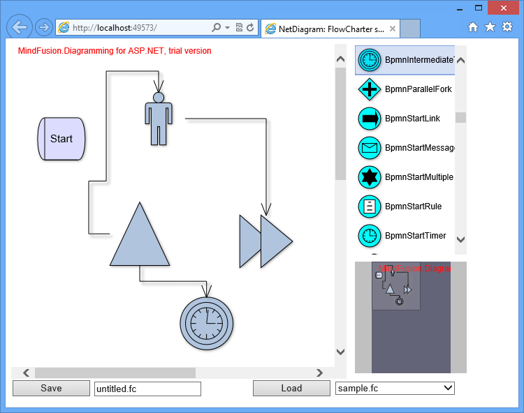 Screenshot of MindFusion.Diagramming for ASP.NET