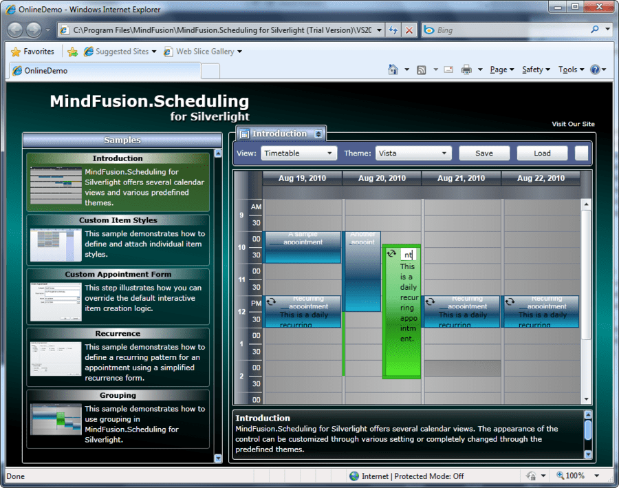 Screenshot of MindFusion.Scheduling for Silverlight
