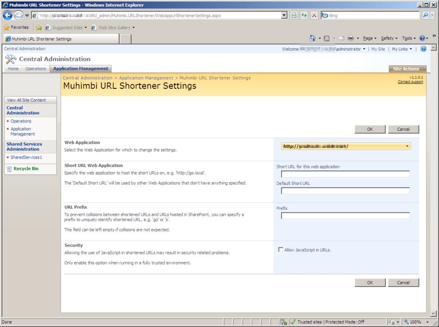 Screenshot of Muhimbi SharePoint URL Shortener (MuSH)