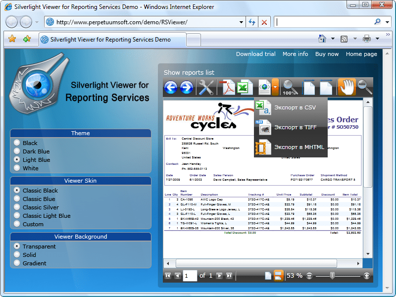 Screenshot of Silverlight Viewer For Reporting Services