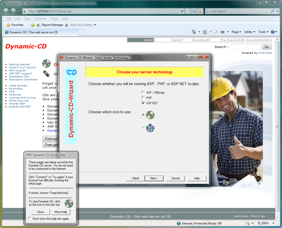 Screenshot of Dynamic-CD.Net for ASP.NET