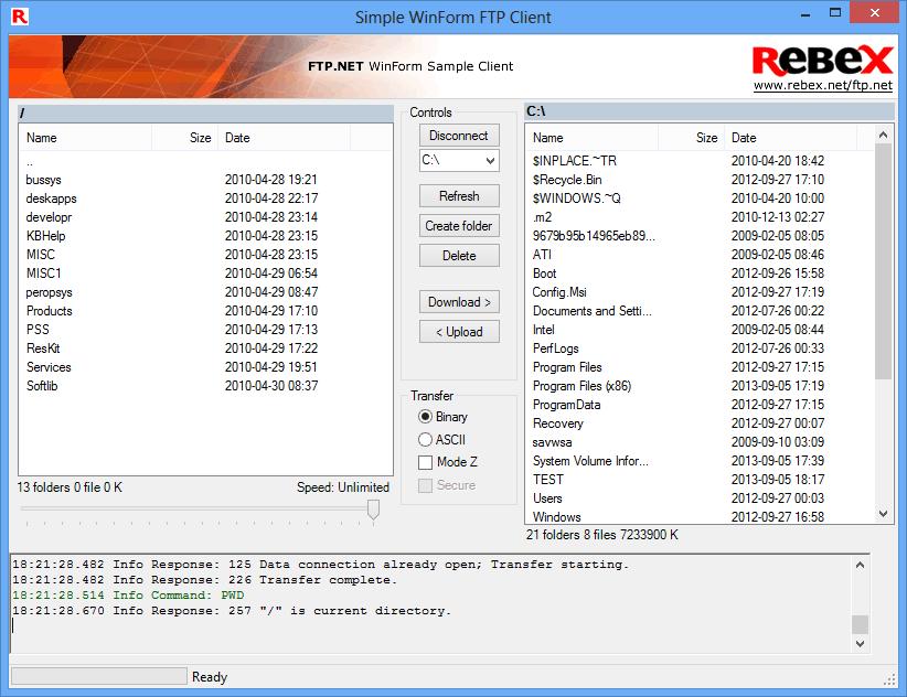 Screenshot of Rebex Total Pack