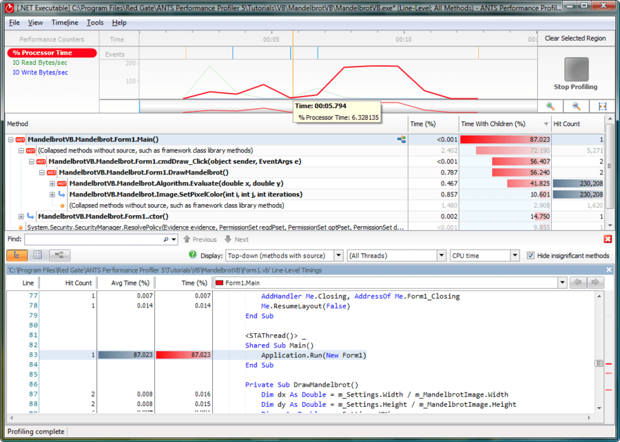 Screenshot of ANTS Performance Profiler