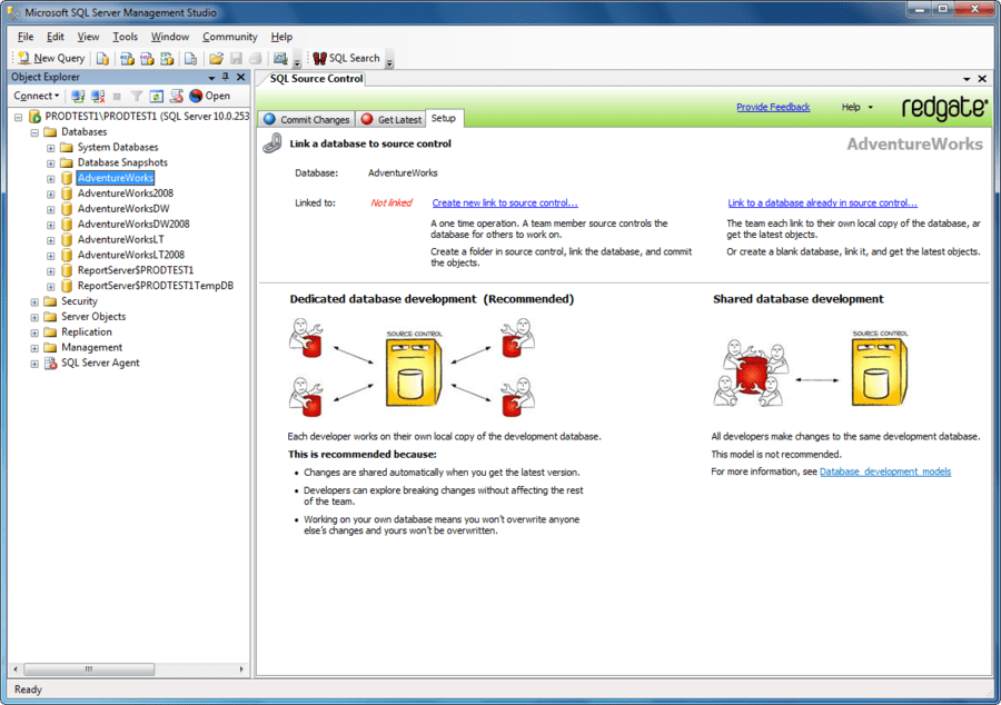 Screenshot of SQL Source Control