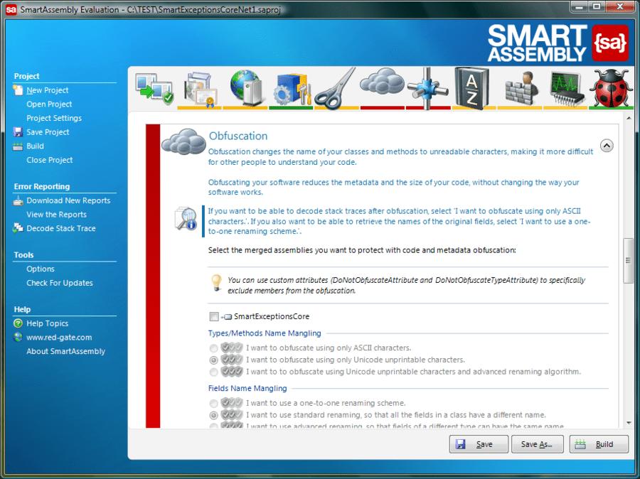 Screenshot of SmartAssembly