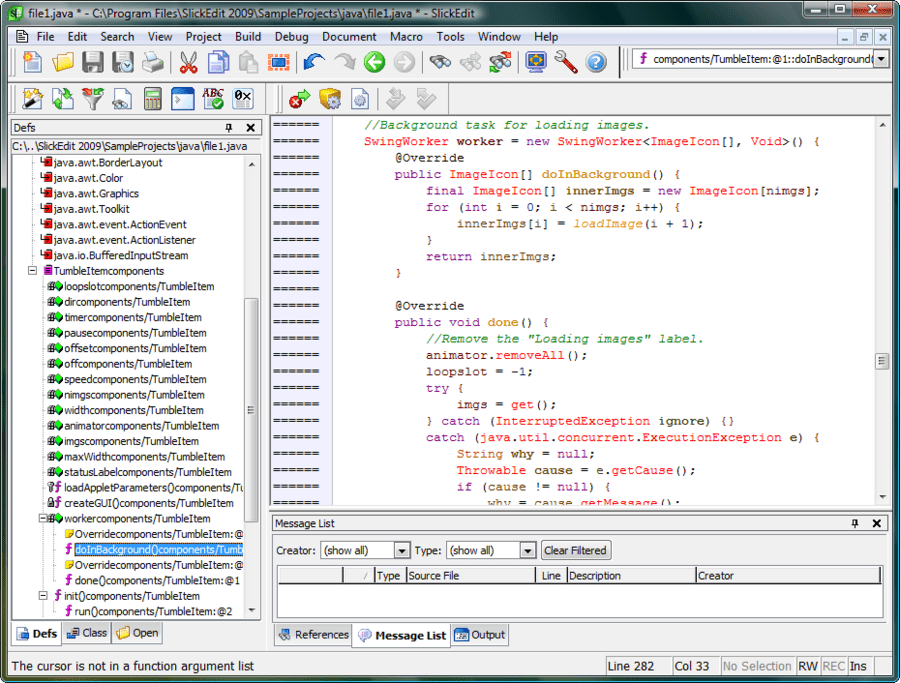 Screenshot of SlickEdit for Linux