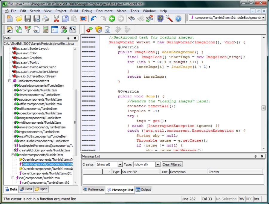 Screenshot of SlickEdit for Mac OS X