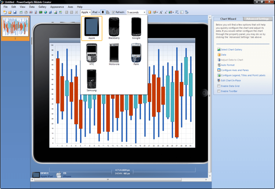Screenshot of PowerGadgets Mobile for XenApp
