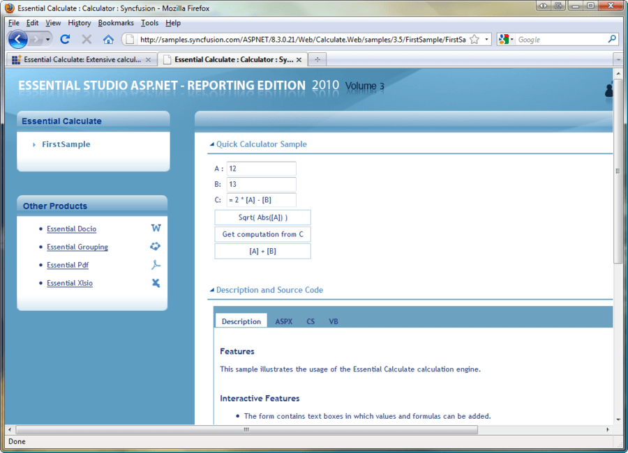 Screenshot of Syncfusion Essential Calculate for ASP.NET