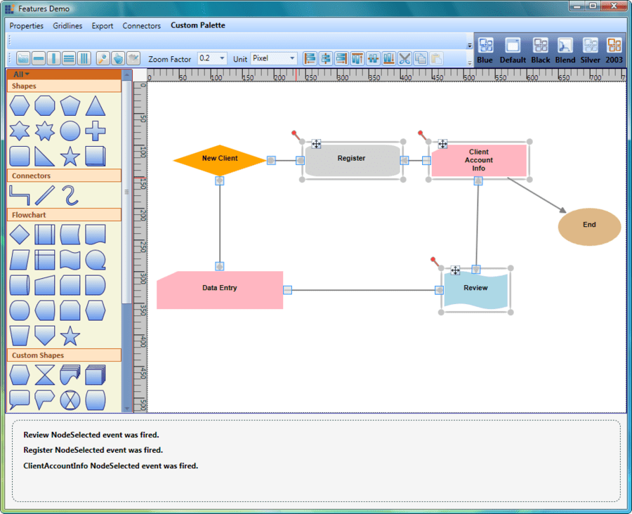 Screenshot of Syncfusion Essential Diagram for WPF