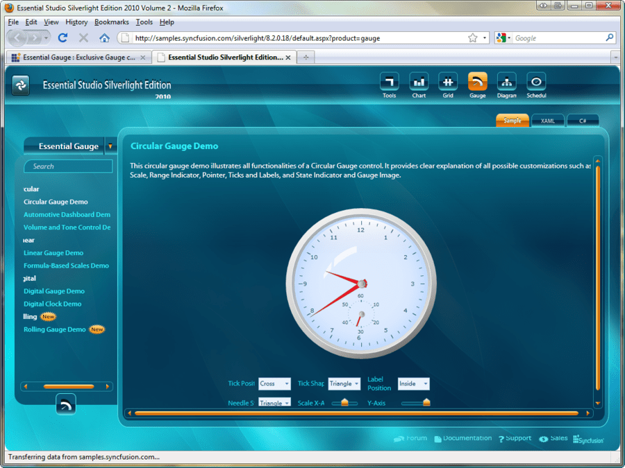 Screenshot of Syncfusion Essential Gauge for Silverlight