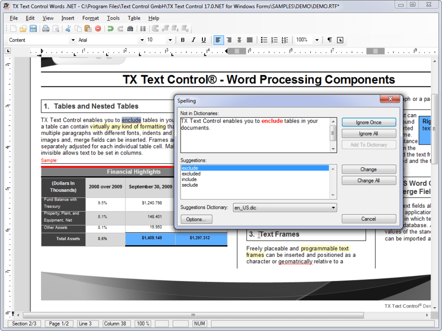 Screenshot of TX Spell .NET for Windows Forms
