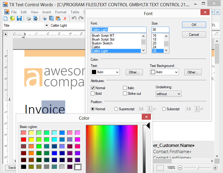 Screenshot of TX Text Control ActiveX Enterprise/XML