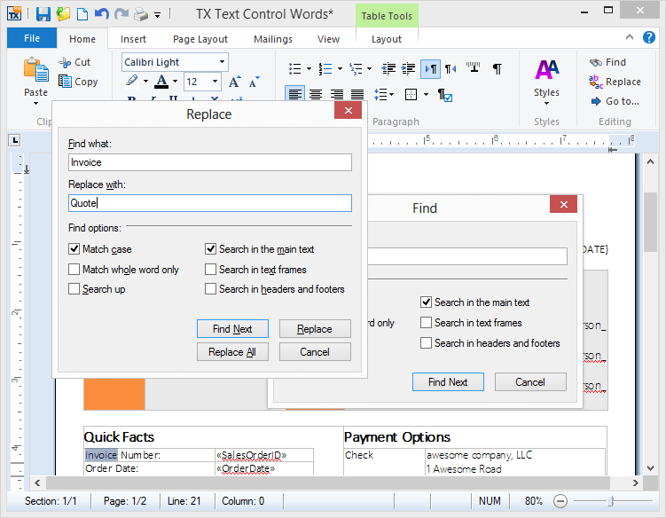Screenshot of TX Text Control .NET for WPF Professional