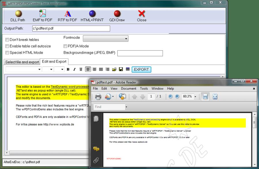Screenshot of wRTF2PDF/TextDynamic Server