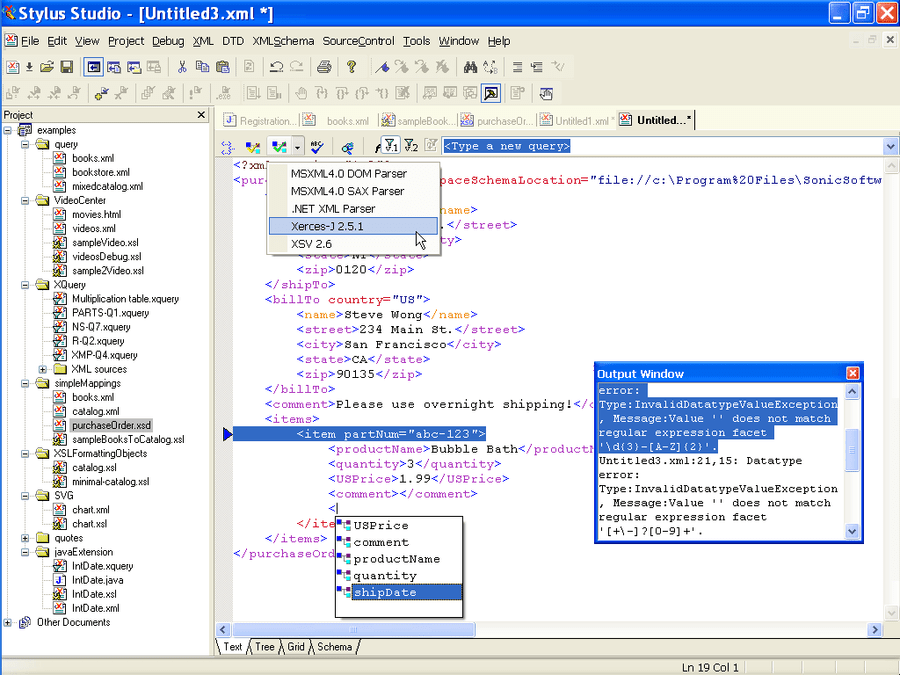 XML Schema Validator: Stylus