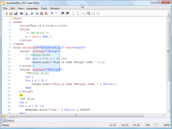 About Actipro SyntaxEditor for WPF: A WPF syntax-highlighting code editor control and parsing suite.