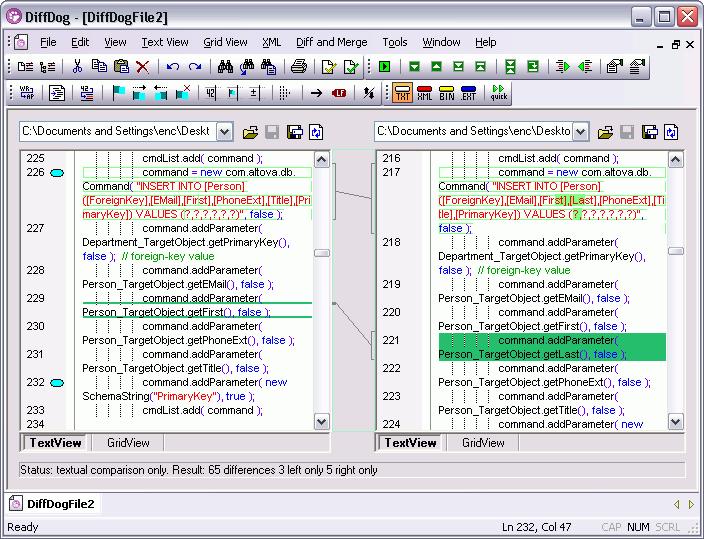 About Altova DiffDog Professional: XML-aware diff/merge tool for file and directory differencing.