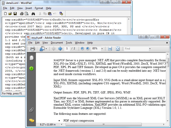 About XML2PDF Formatting Engine: Convert your XML files (XSL-FO, SVG, Excel, Word 2003-2013, XHTML) to PDF, XPS, PS, TIFF etc.