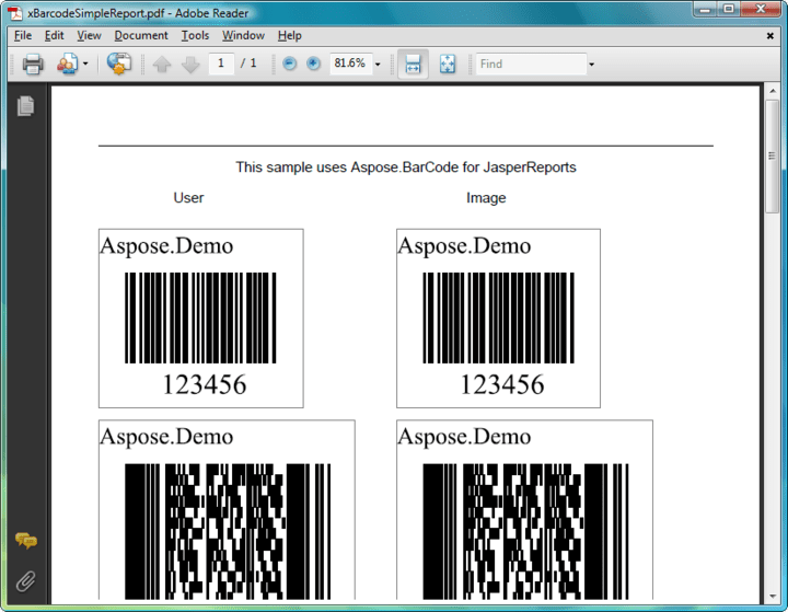 About Aspose.BarCode for JasperReports: Display barcodes in your JasperReports reports.