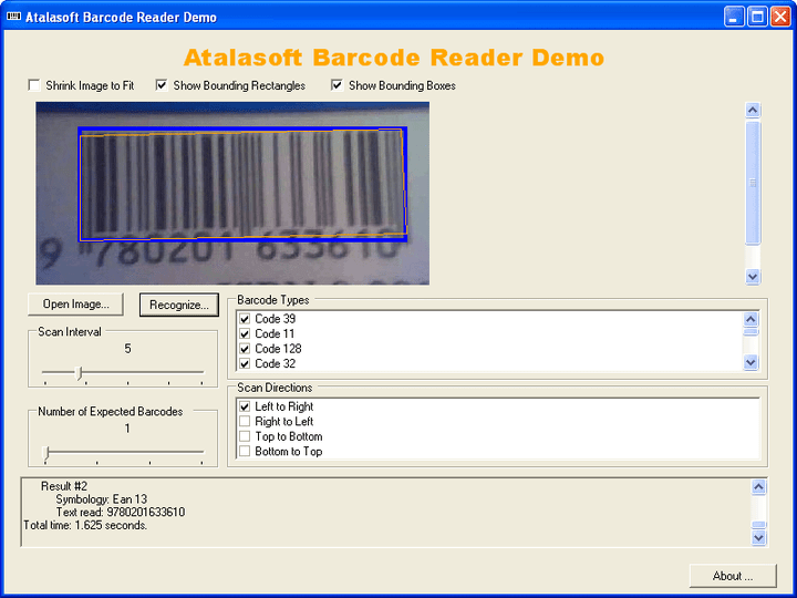 About AtalaSoft DotImage BarcodeReader Add-On: Add advanced barcode recognition of images to your .NET applications.
