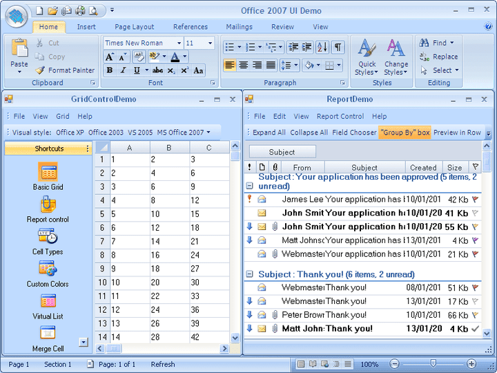 About BCGControlBar Library for .NET: Create .NET applications with an user interface similar to Microsoft Office 2000, XP, 2003, 2007 or Windows XP, Vista and other well-known products.