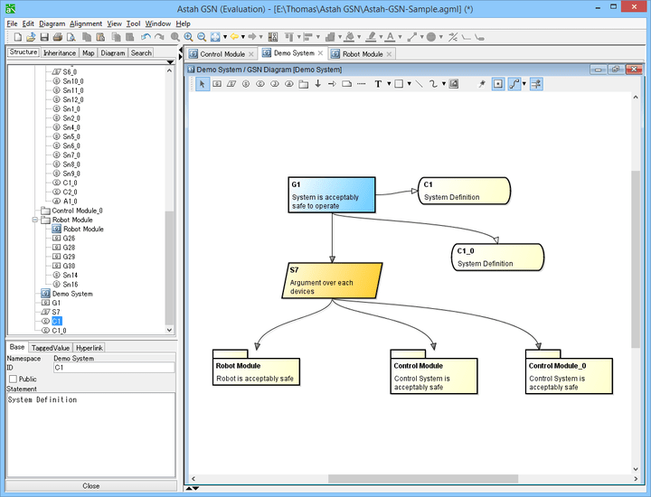 About Astah GSN: Business process GSN (Goal Structuring Notation) design tool.
