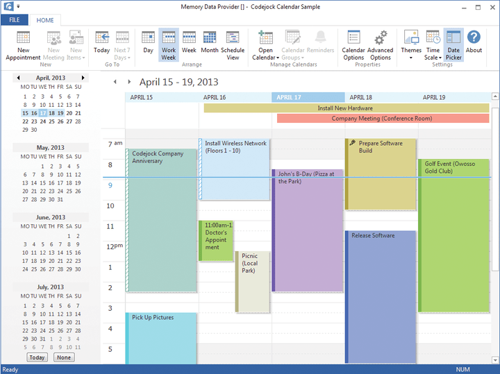 About Codejock Calendar Visual C++ MFC: Let your applications manage appointments and arrange them by day, week, work week or month.