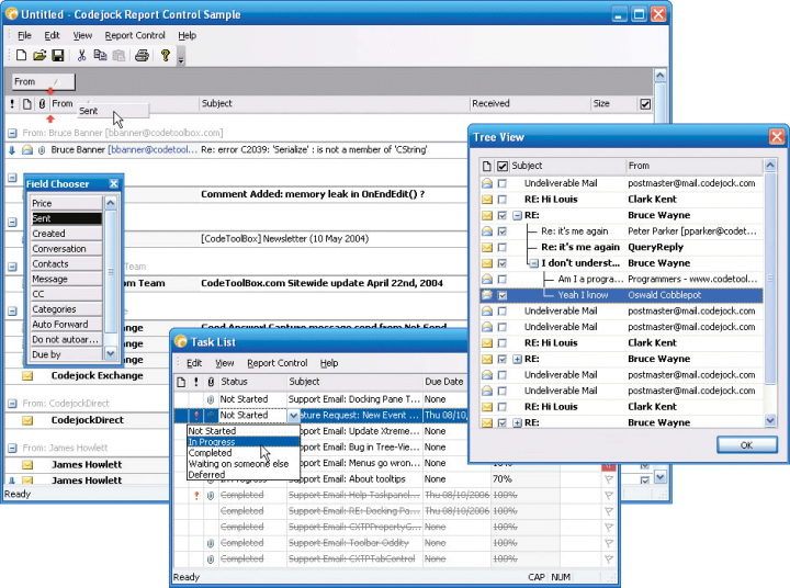About Codejock Report Control Visual C++ MFC: Easily create, group and sort data in a flat or hierarchical format.