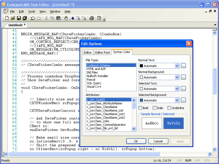 About Codejock Syntax Edit Visual C++ MFC: Visual Studio style code editor control.