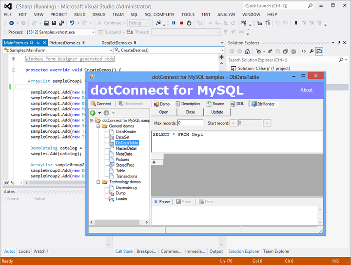 About dotConnect for MySQL: Data provider for direct access to MySQL.