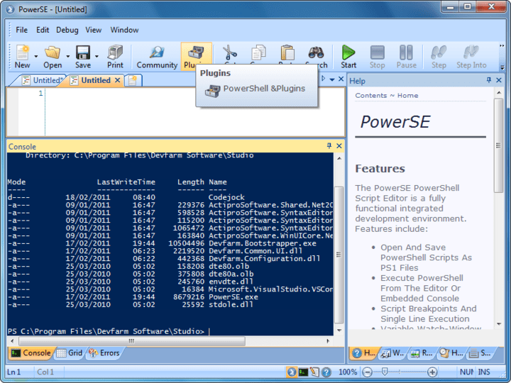 About PowerSE: Professional PowerShell script editor.
