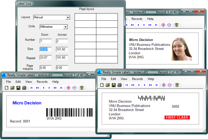 About Really Simple Labels: Design and print barcode labels and tickets from almost any data source.