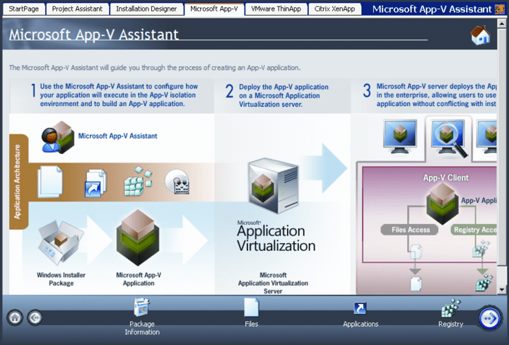About AdminStudio Standard with Virtualization Pack: Efficiently prepare reliable software packages for traditional and virtual deployment, offering a complete suite of automated MSI packaging, application virtualization, customization, testing, and management tools.
