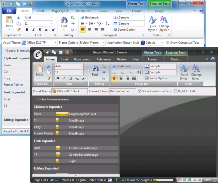 About Elegant Ribbon: Add a Microsoft Office look user interface to your application.