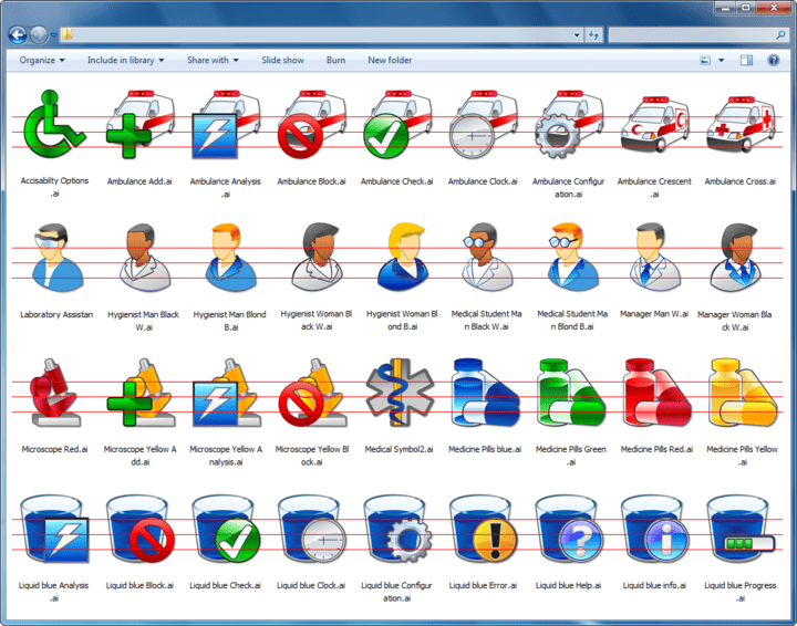 About Grafile Medical Bonus Pack: Package of health care icons.