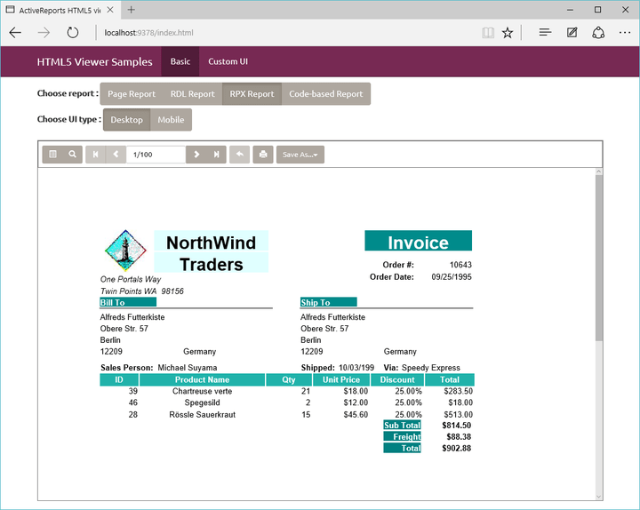 About ActiveReports: Generate a wide variety of reports from your .NET applications.