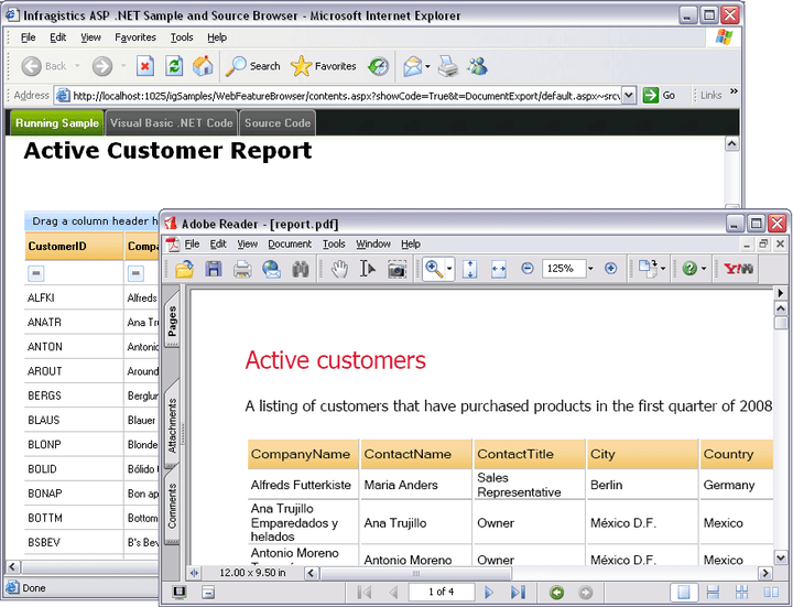 About Infragistics WebGridDocumentExporter: Effective XPS and PDF reports from Infragistics WebGrid data.
