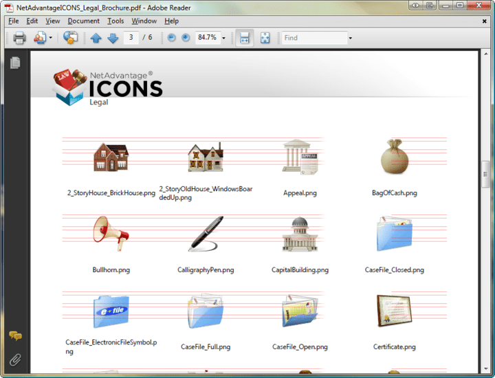 About NetAdvantage ICONS Legal Pack: Add professional icons to your applications.