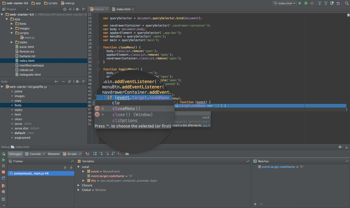 About WebStorm: Professional IDE (Integrated Development Environment) for Web developers.