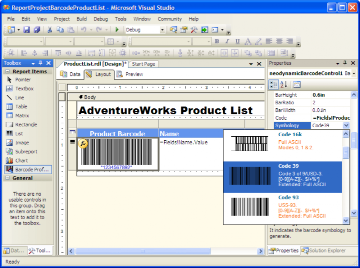 About Neodynamic Barcode Professional for Reporting Services - Ultimate Edition: Add barcode images to your Reporting Services reports.