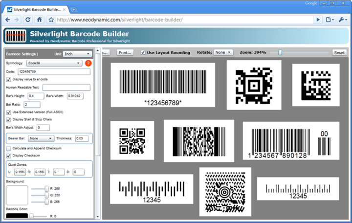 About Neodynamic Barcode Professional for Silverlight: Generate and print high quality vector-based linear and 2D barcodes for LOB Silverlight Applications.
