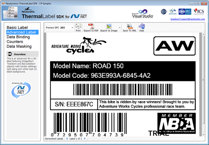 About ThermalLabel SDK for .NET: Create, preview and print advanced barcode labels for Zebra-compatible Thermal Printers (ZPL or EPL) with VB.NET and C#.