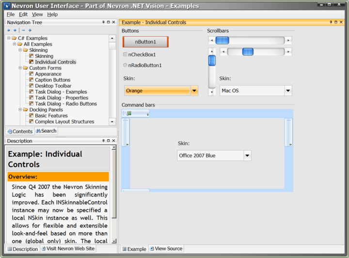 About Nevron User Interface Suite for .NET - Professional: Create distinguished, stylish and modern end-user interfaces.