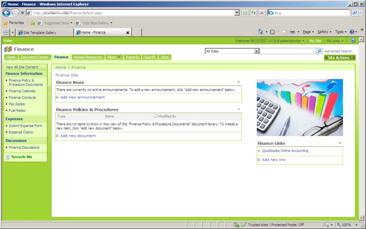 About Office Talk Finance Templates for SharePoint: Finance SharePoint Site Template.