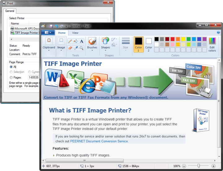 About TIFF Image Printer: Convert anything into a high-quality TIFF image.
