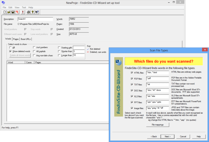 About FindinSite-CD: Include full text searching on your HTML, PDF, DOC, XLS, PPT and TXT CD-ROMS.