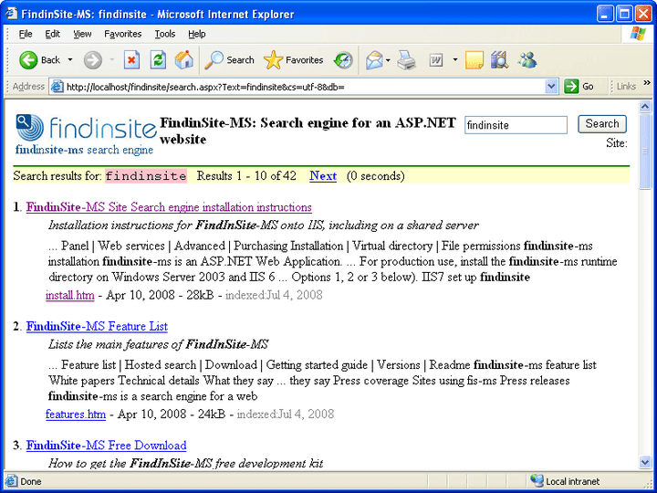 About FindinSite-MS: Add fully controllable search functionality to your ASP.NET hosted Web site.